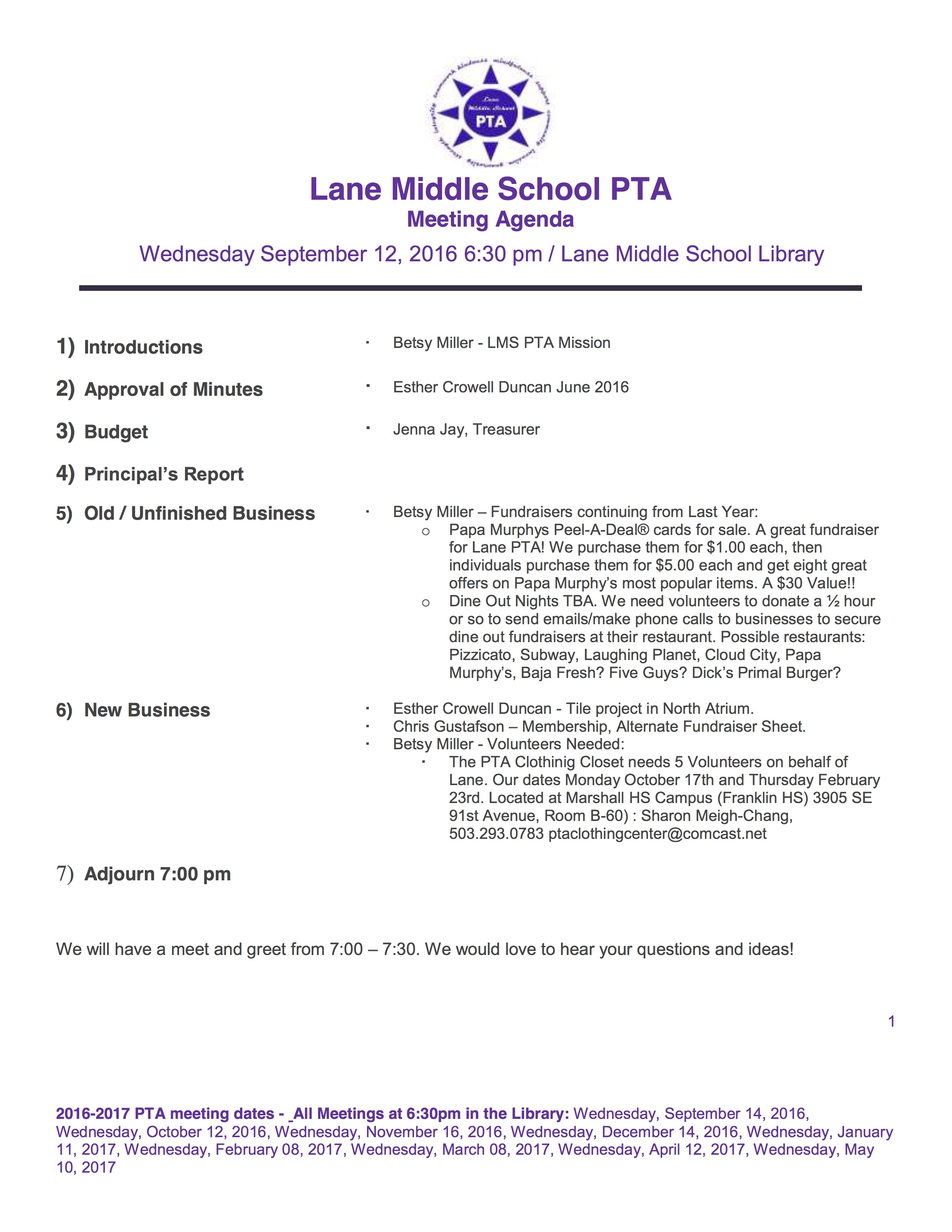 First Meeting of the Year for Lane PTA | Brentwood ...