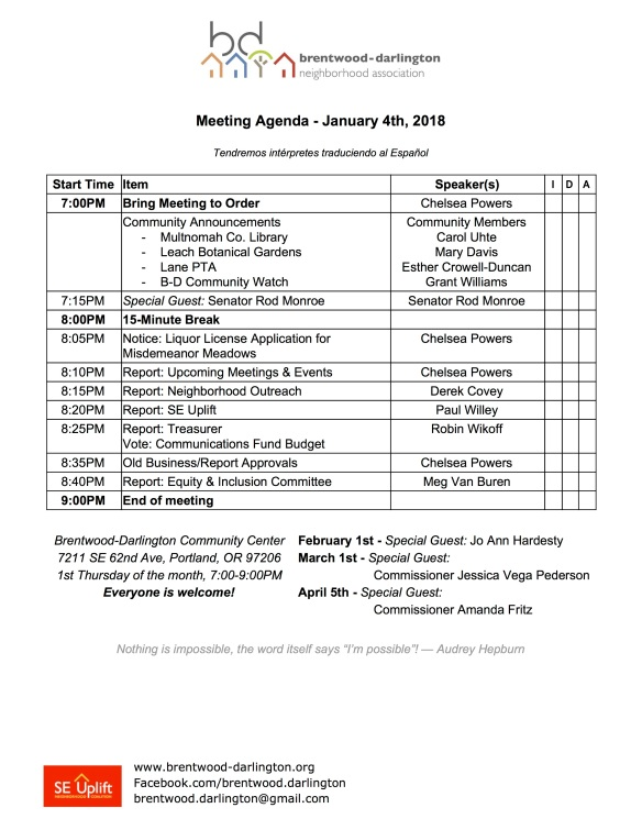 Meeting Agenda - January 2018