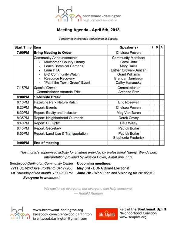 Meeting Agenda - April 2018