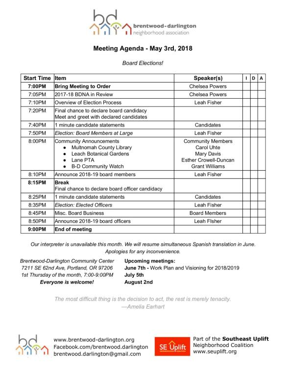 May 2018 Agenda
