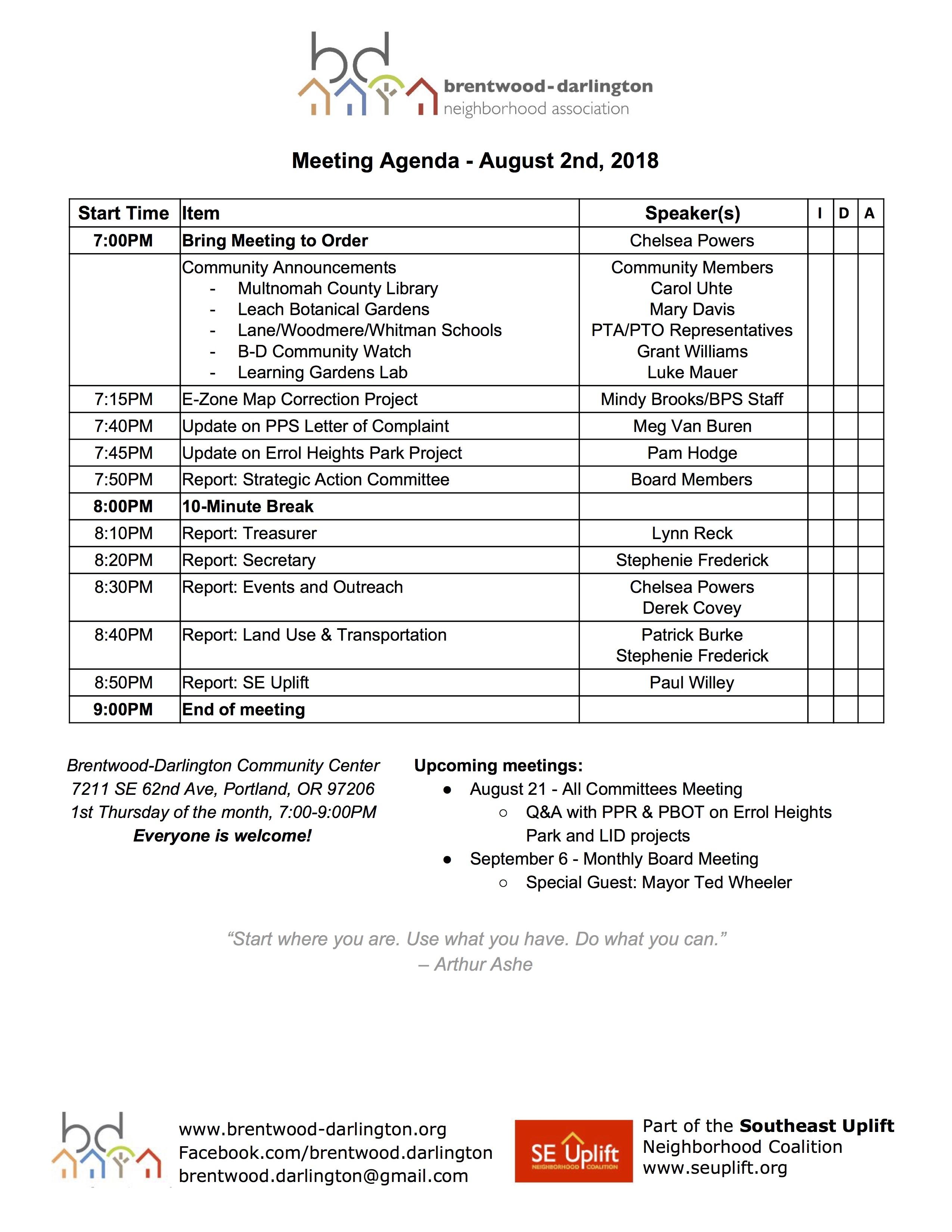 Meeting Agenda - August 2018