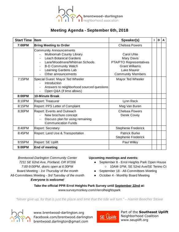 Meeting Agenda - September 2018