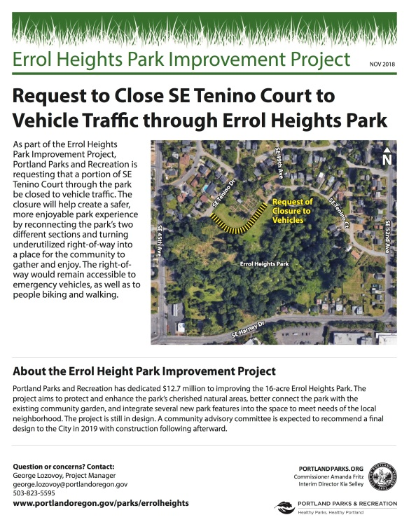 SE Tenino Court Closure Flyer